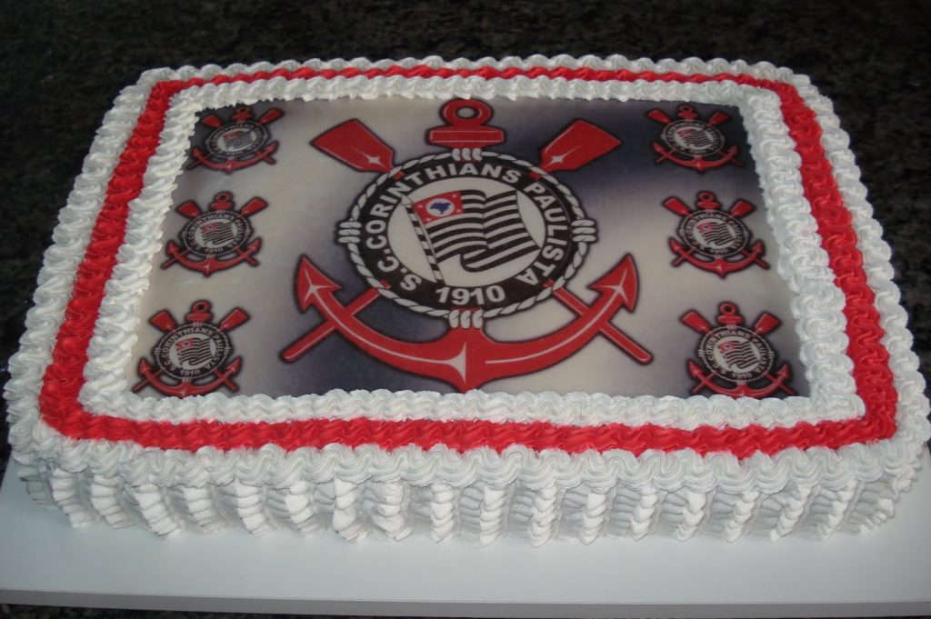 Bolo do Corinthians simples de 1 Andar com Chantilly