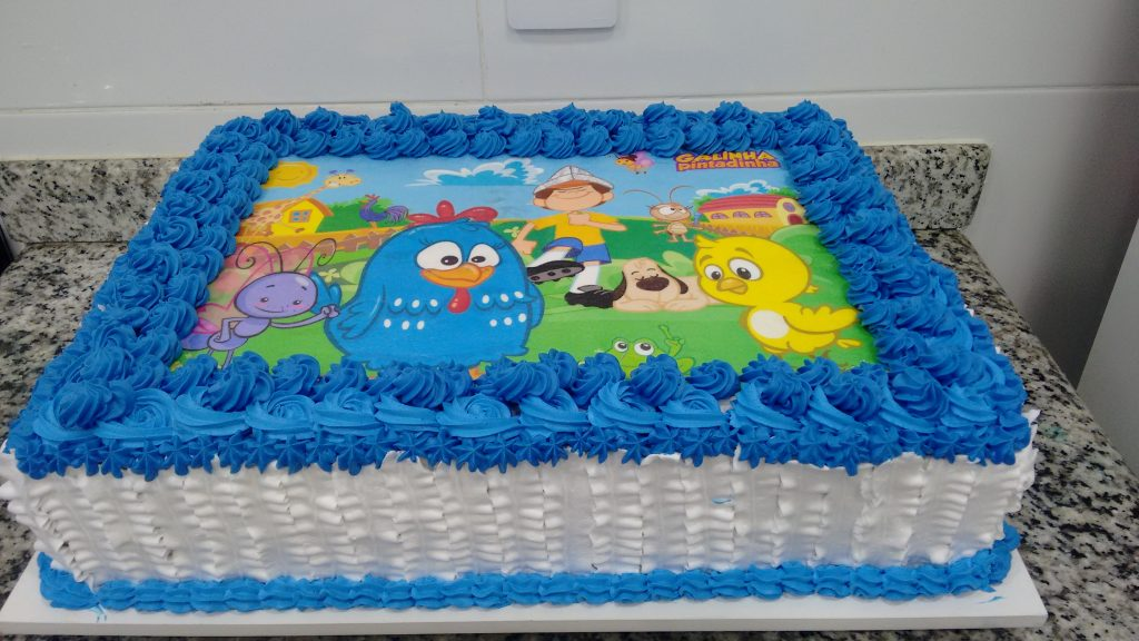 bolo da galinha pintadinha quadrado