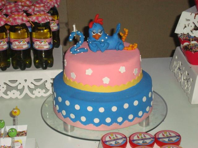 bolo da galinha pintadinha rosa e azul