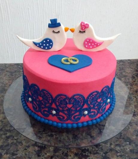 bolo de noivado azul e rosa