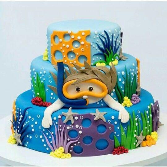 bolo fundo do mar infantil