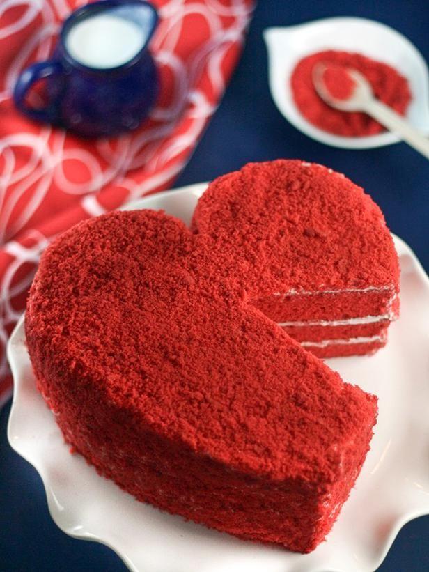 Bolo Red Velvet com coração
