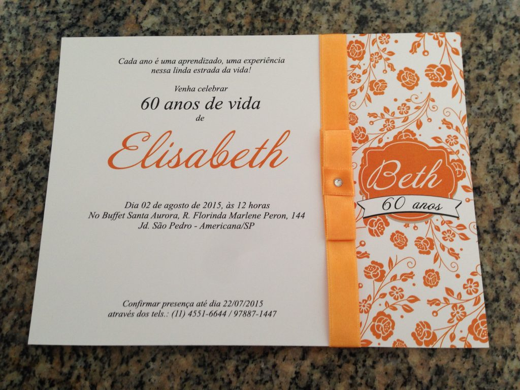 convite aniversario 60 anos feminino