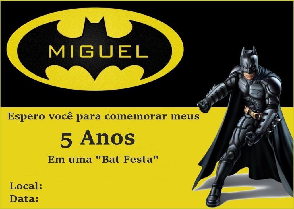 convite aniversario Batman grátis