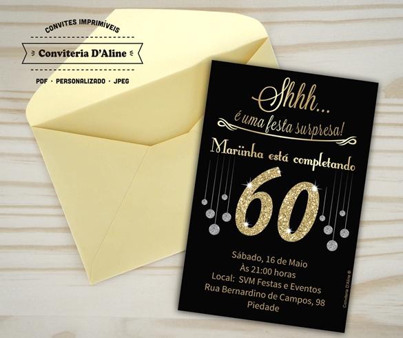 convite de aniversario anos 60 grátis
