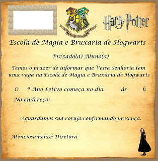 convite de aniversario harry potter
