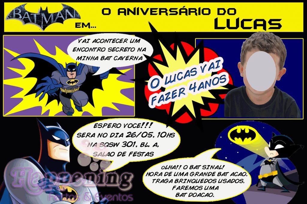 convite do Batman quadrinhos