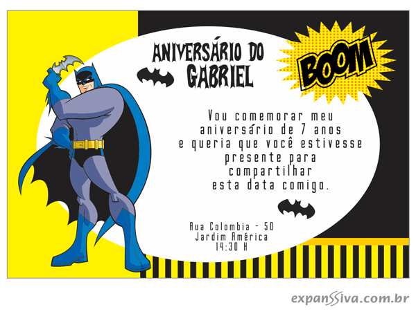 convite do batman infantil