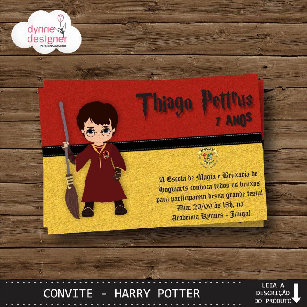 convite harry potter personalizado