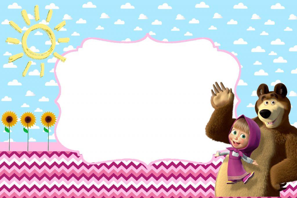 convite masha e o urso com foto