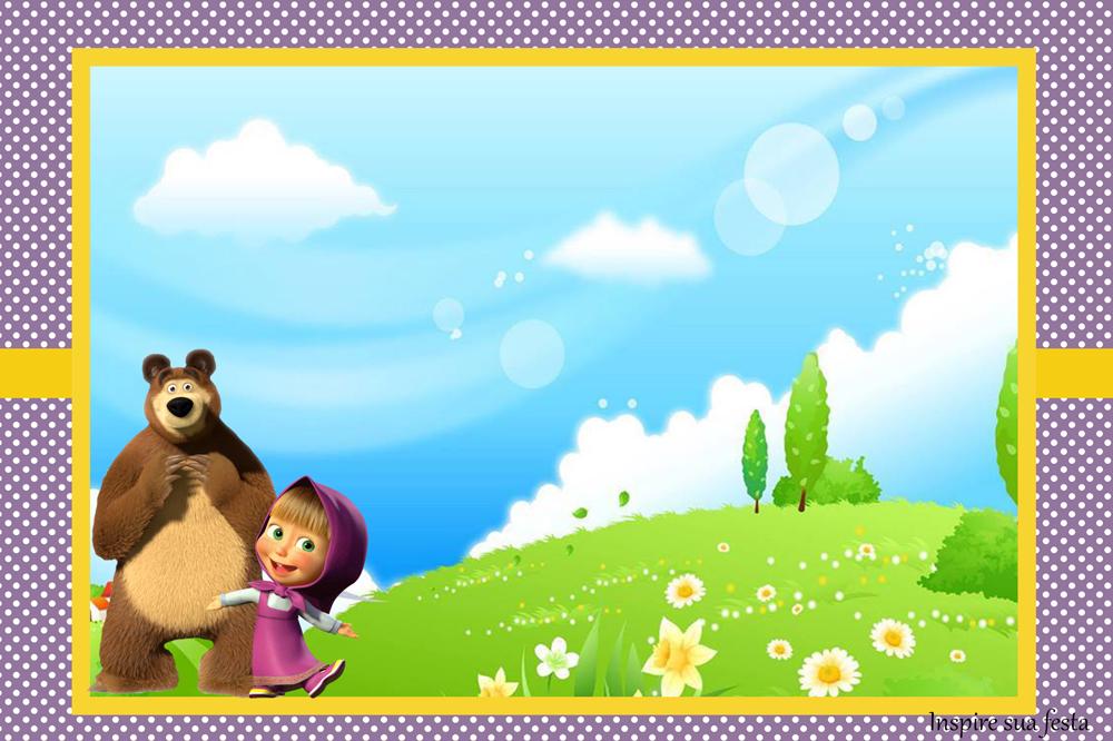 convite masha e o urso para editar