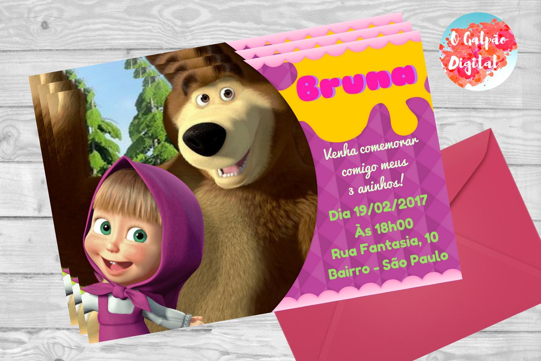 convite masha e o urso personalizado