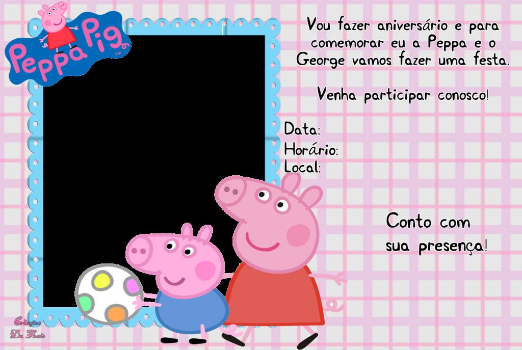 convite peppa pig para imprimir