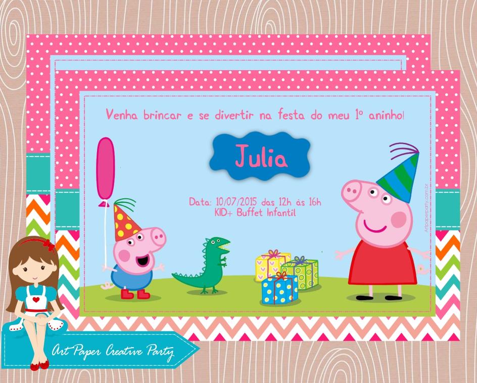 convite peppa pig personalizado