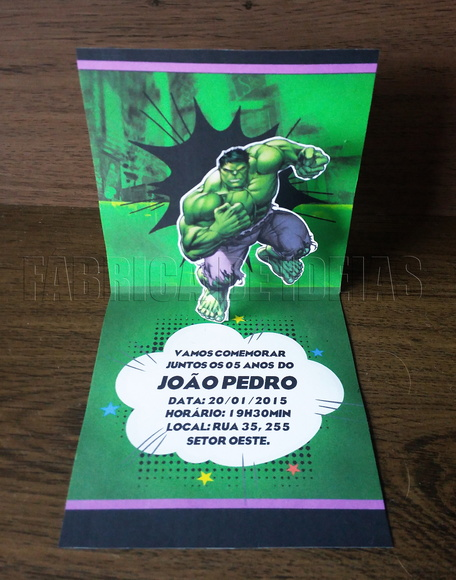 convite personalizados do Hulk