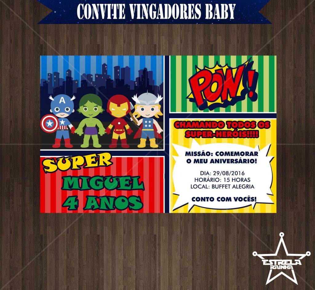 convite vingadores baby