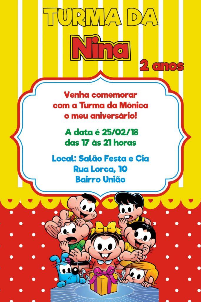 convite virtual turma da Mônica
