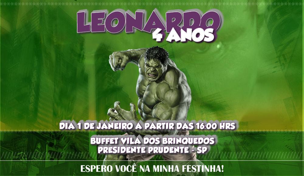 convite de aniversário do Hulk