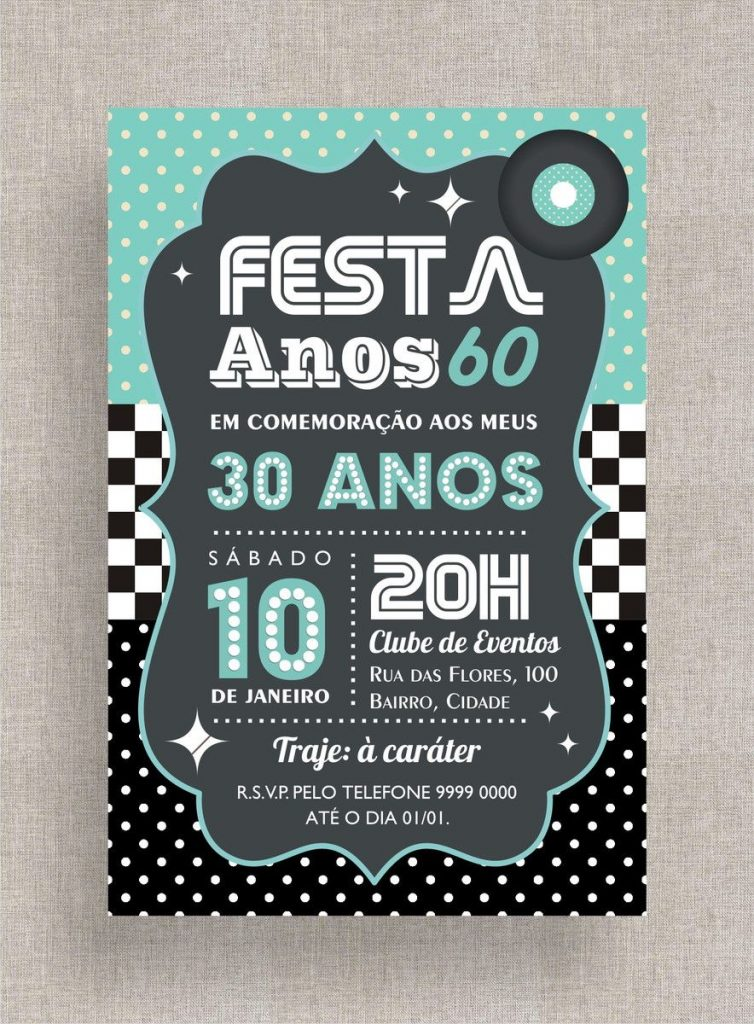 convites de aniversario anos 60 para imprimir