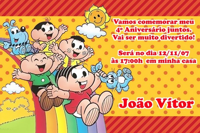convites de aniversario turma da Mônica