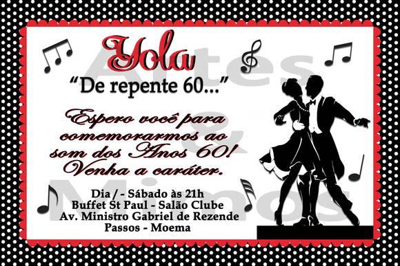 convites festa anos 60
