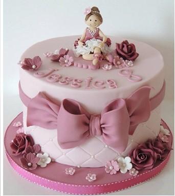 Modelo de bolo bailarina simples com chocolate kit kat nas laterais e lindo laço rosa. No topo do bolo, brigadeiros rosas com chocobol dourado tanto nos brigadeiros como na superfície do bolo. Miniatura de bailarina em biscuit, completam a decoração.