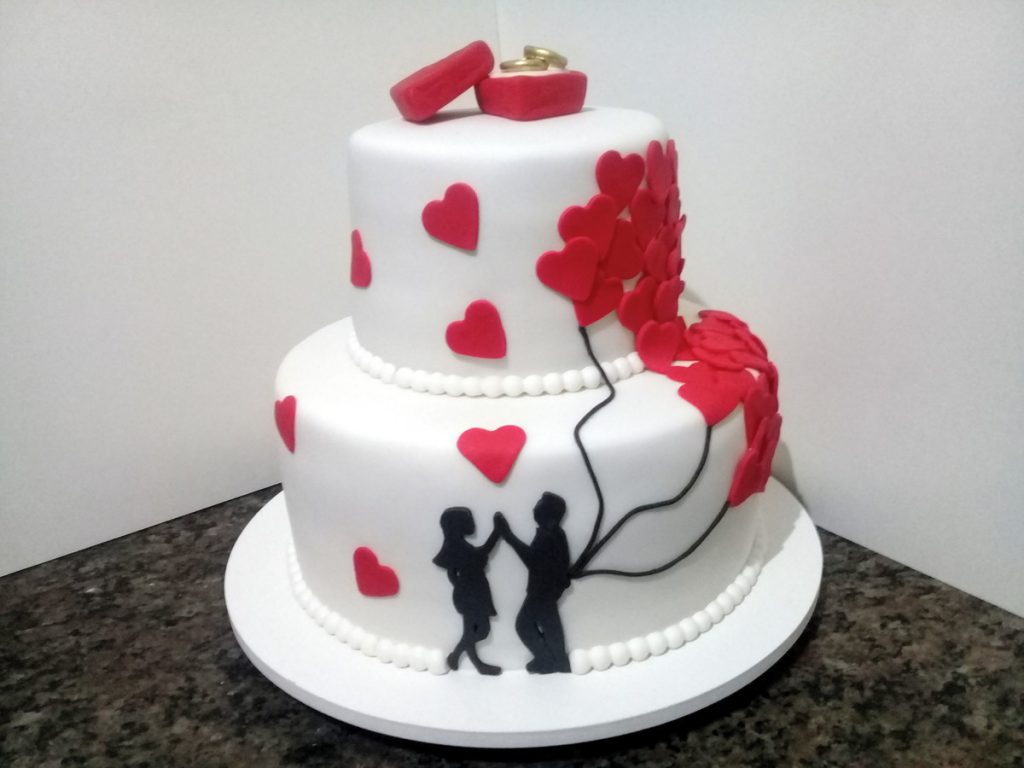 bolo de noivado fake