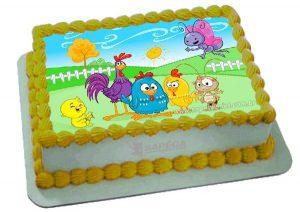bolo galinha pintadinha quadrado