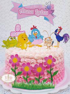bolo galinha pintadinha rosa