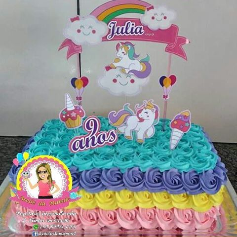 bolo unicornio com topper