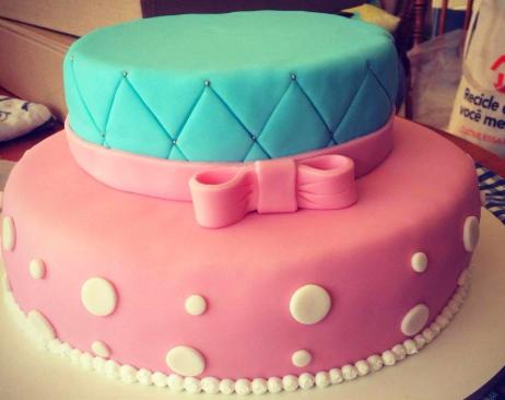 bolo azul e rosa