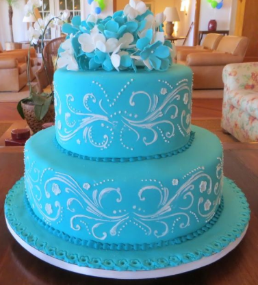 bolo azul turquesa