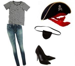 Fantasia de pirata feminina simples