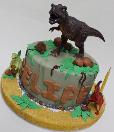 Bolo de dinossauro rex