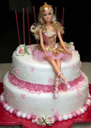 bolo da barbie simples