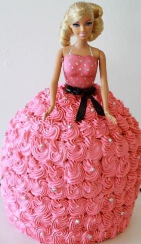 bolo da barbie rosa
