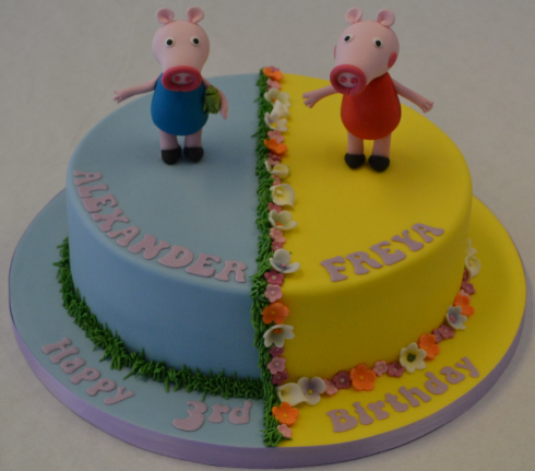 peppa cake and george pig