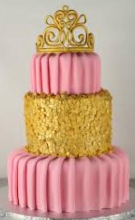 Bolo de 15 anos rosa com dourado