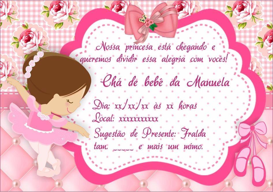 Convite chá de bebê bailarina