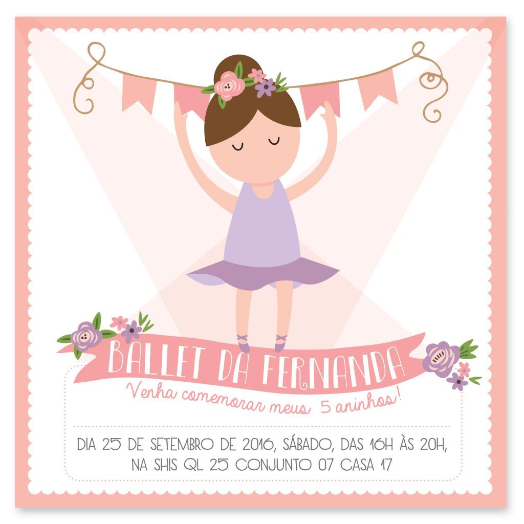 Convite de aniversário de bailarina