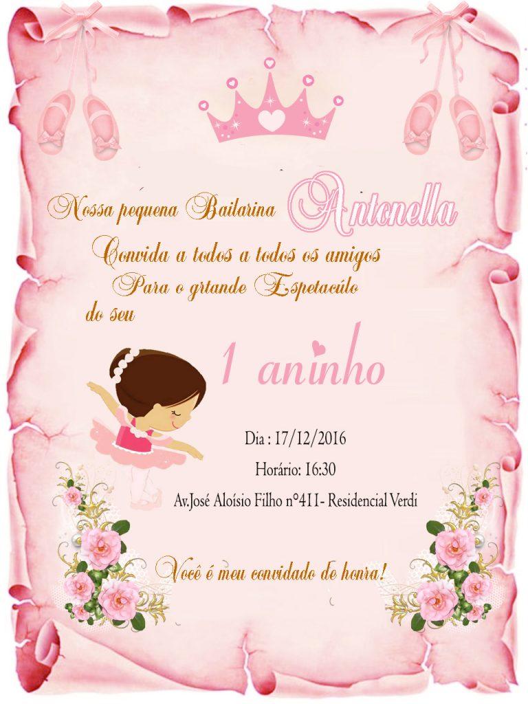 Convite bailarina 1 aninho