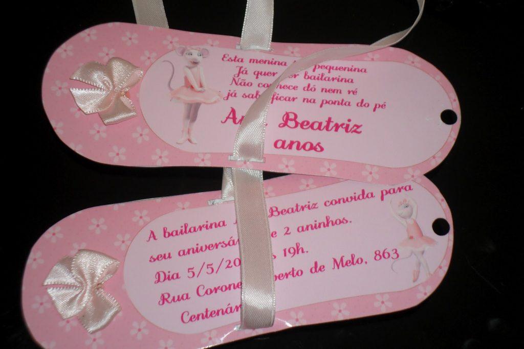 convite sapatilha bailarina