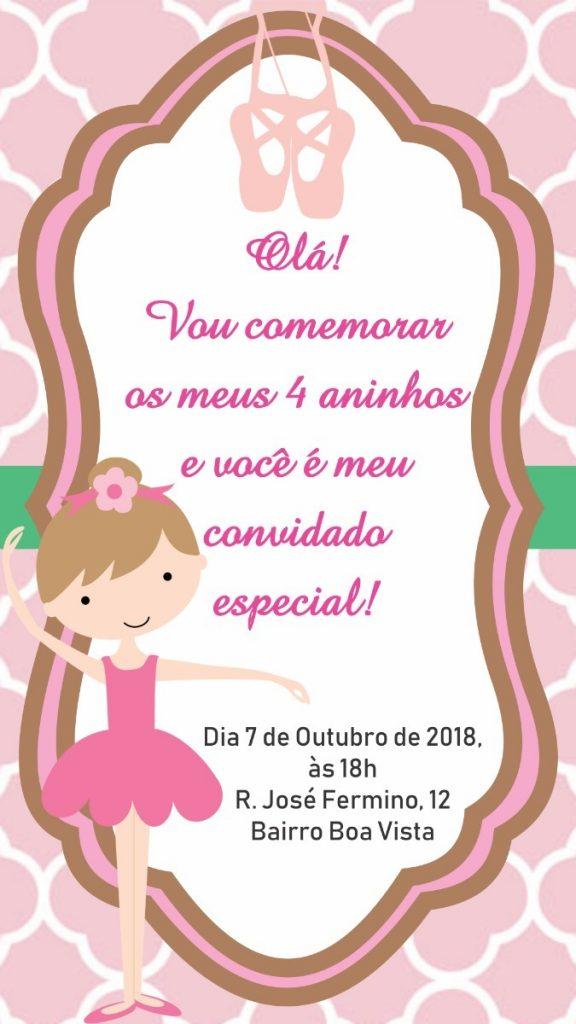 Convite virtual bailarina