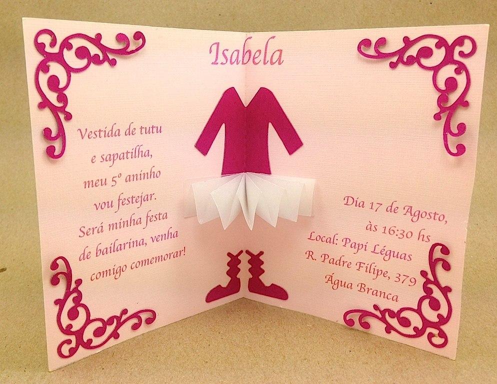 convite de bailarina personalizado