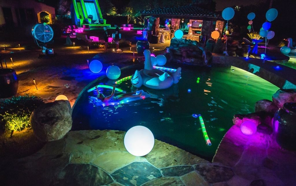 neon party at the pool
