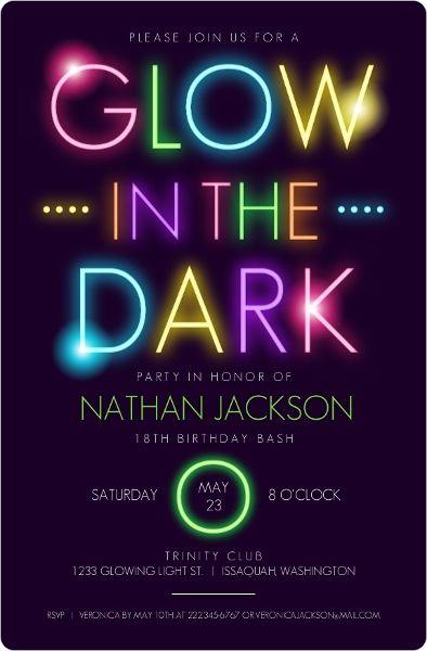 convite festa neon