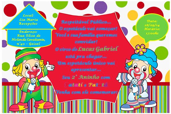 convite festa patati patatá