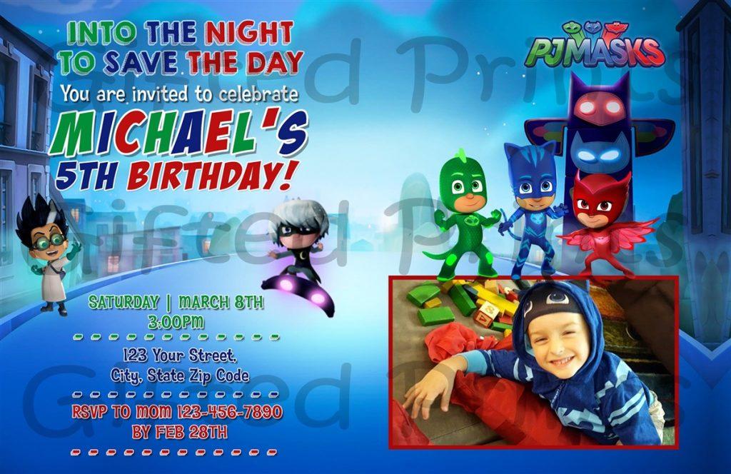 convite festa infantil pj masks