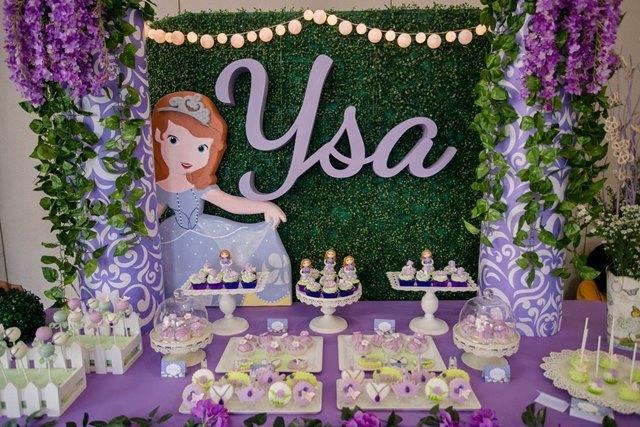 decoração de festa da princesa sofia