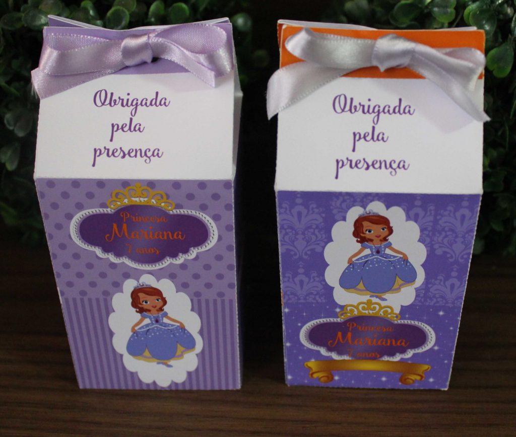 Lembrancinhas daPrincesa Sofia com caixa de leite